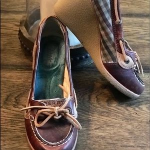 ⭐️SPERRY TOP-SLIDER BROWN/PLAID WEDGES SIZE 6⭐️